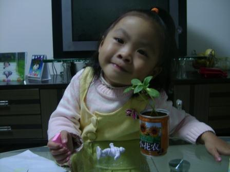 女儿和小向日葵